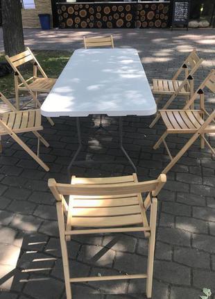 Аренда складных белых столов для мероприятий