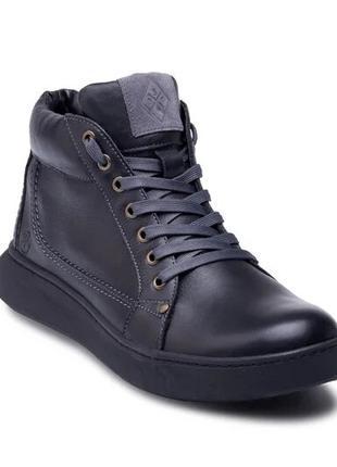 Мужские зимние кожаные ботинки на натуральном меху Leather