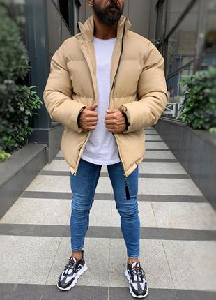 Кожаная мужская зимняя куртка пуховик бежевого цвета
