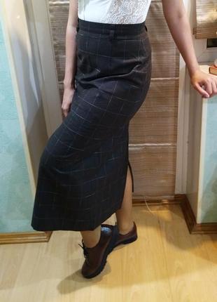 Длинная коричневая юбка в клетку из флисовой шерсти