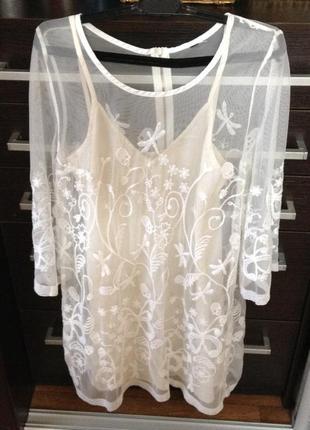Кружевное платье сетка цвета айвори  divided размер s
