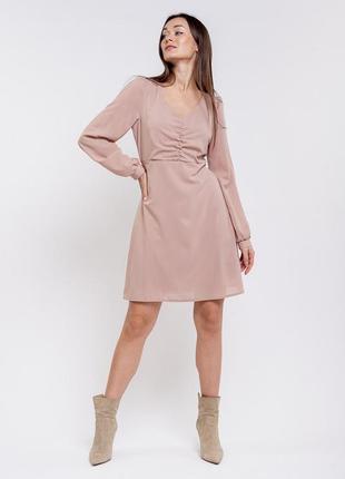 Короткое шифоновое платье с длинными рукавами