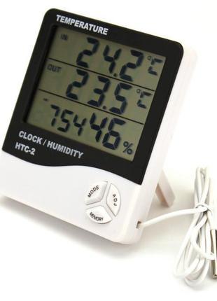 Цифровой термометр часы гигрометр с датчиком HTC-2 с выносным дат