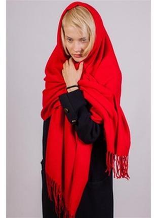 Палантин великолепного качества цвет красный классика