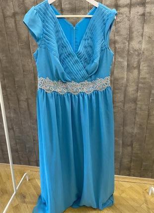 Платье в пол вечернее выпускное голубое