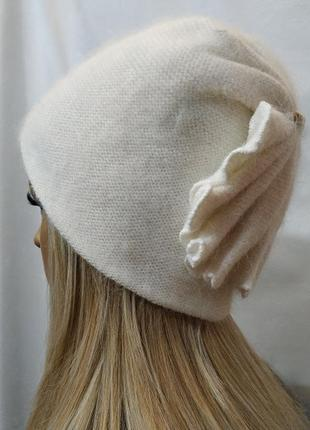 Шапка женская ангора ракушка белая