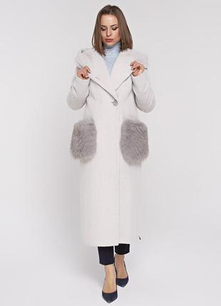 Зимнее пальто макси 52  с меховыми карманами из песца