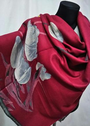Двухсторонний зимний шарф-палантин тюльпаны