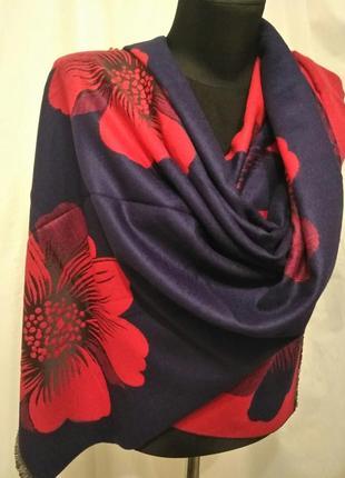 Двухсторонний зимний шарф-палантин ромашка