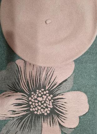 Комплект двухсторонний зимний шарф-палантин цветок и берет ton...