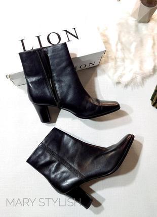 Черные ботинки ботильоны кожаные