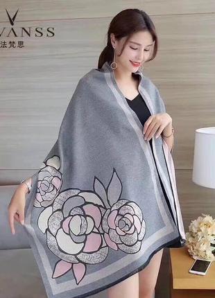 Двусторонний шарф-палантин цветок великолепного качества