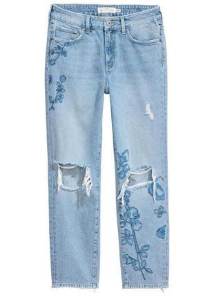 Новые модные рваные женские джинсы h&m р. 10