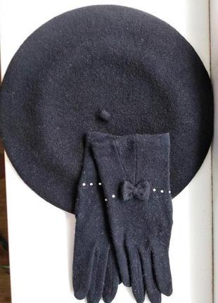 Комплект берет тonak и перчатки италия