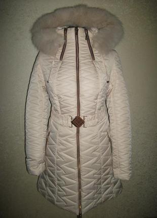 Зимнее пальто мех песец