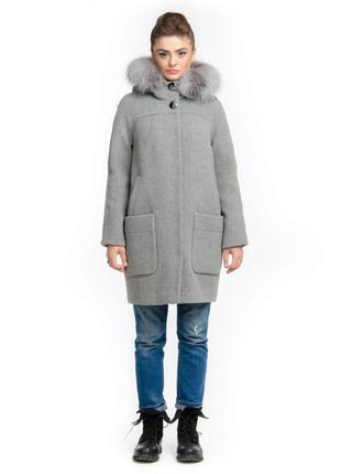 Зимнее пальто-парка шерстяное с натуральным мехом на утеплителе
