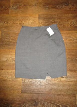 Эффектная юбка с косым разрезом тонкая шерсть