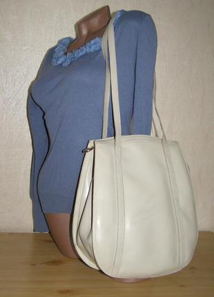Кожаная сумка от firenze bag  с длинными ручками, светло-серый...