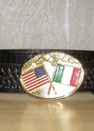 Кожаный мужской ремень, made in mexico + стильная пряжка