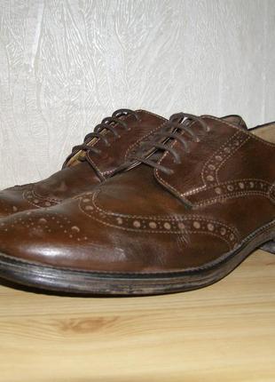 Мужские кожаные туфли - броги от geox respira 42,5 размер,28 с...