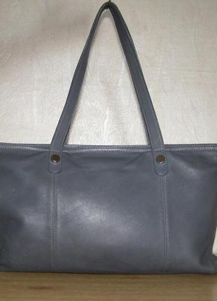 Большая сумка шопер из натуральной кожи, темно-серый цвет