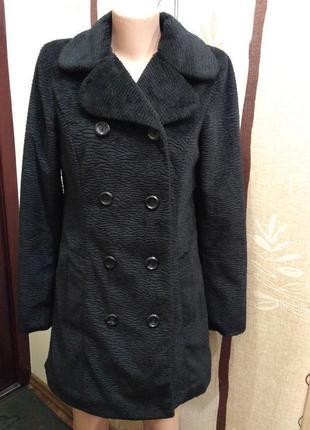 H&m. двубортное меховое, плюшевое пальто шуба, эко мех