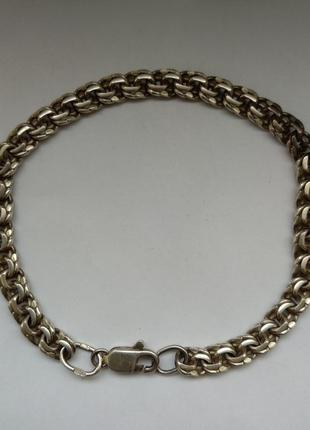 Серебряный браслет 925  пробы, плетение бисмарк.