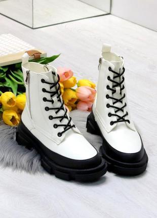 Белые зимние ботинки на тракторной подошве,белые ботинки на гр...