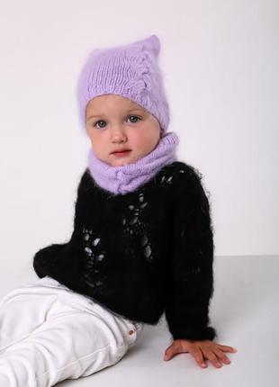 Детский вязаный комплект шапка и снуд из пуха норки