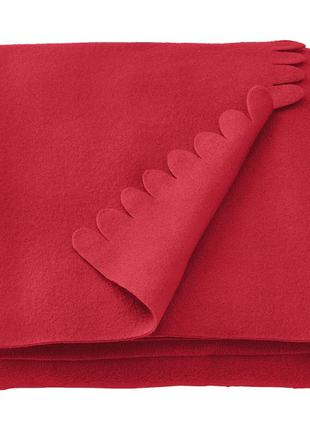 Плед флисовый IKEA мягкий тёплый красный 130x170 см