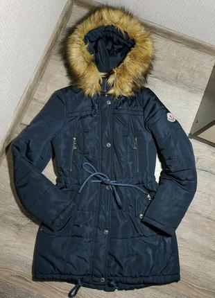 Зимняя куртка парка, темно-синяя moncler