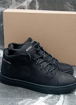 Мужские зимние ботинки diesel classic winter boots черные,кожа...