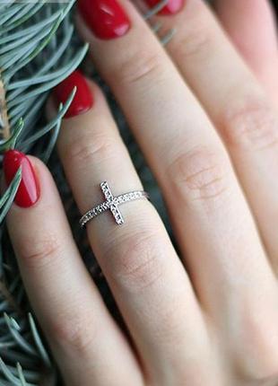 Кольцо серебро 925 на фалангу крестик юм 10327