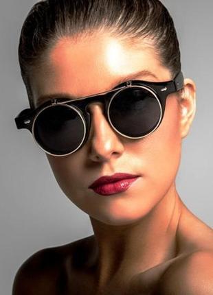 Круглые очки в стиле стимпанк с двойными стеклами, унисекс