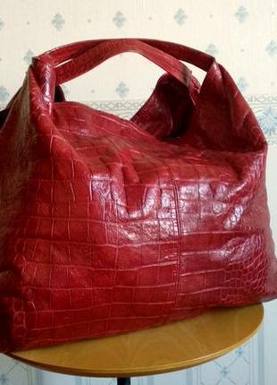 Огромная кожаная сумка furla, тиснение под рептилию,made in tu...