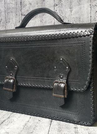 Сумка портфель ручной работы из нат. кожи