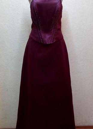 Вечернее платье в пол цвета марсал