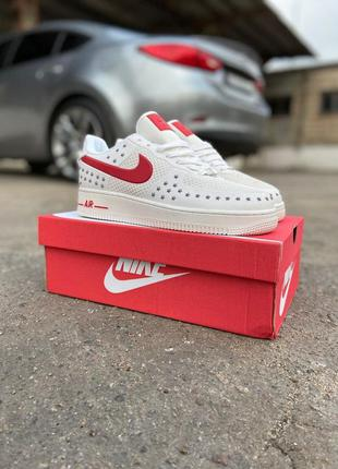 Мужские кроссовки nike air force 1 low white red