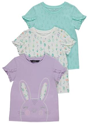 Хлопковые футболки george для девочек 3-4 лет