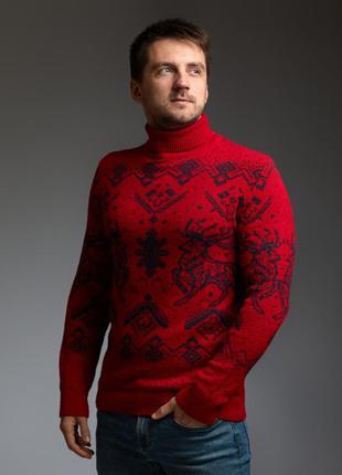 Мужской теплый красный свитер с оленями с подвернутой горловиной
