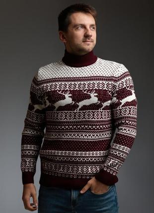 Мужской свитер с оленями бордово-белый с прямой горловиной