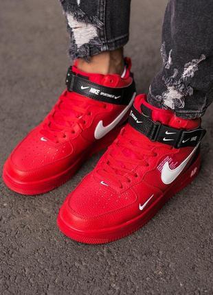 Мужские красные кроссовки nike air force 1 red