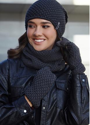 Женский комплект шапка, перчатки и бафф 10 цветов 4731-37бр