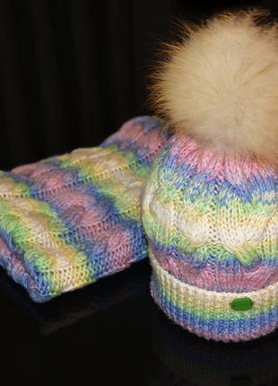 Вязаный комплект шапка снуд хомут, набор зимний