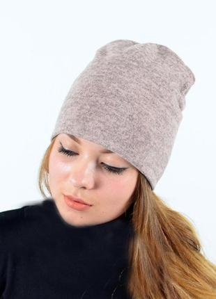 Шапка ангоровая пудра, шапка демисезонная, шапка бини, шапка м...
