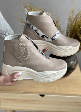 Кожаные зимние ботинки, полуботинки, ботильоны на платформе, т...