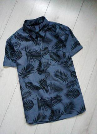 Рубашка на короткий рукав тропический принт