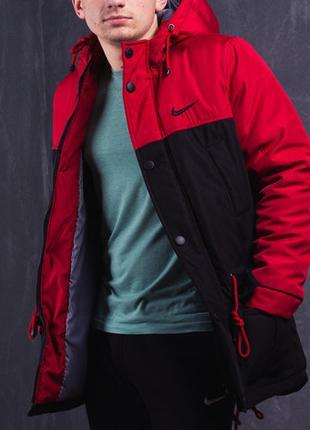 Зимняя парка мужская Nike (Найк) до -30*С черно-красная