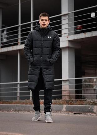 Зимний удлиненный пуховик - under armour черный