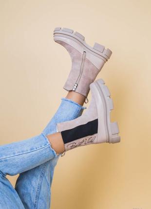 Ботинки женские натуральная кожа замша челси в стиле прада бот...